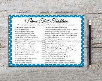 Name That Tradition, Bridal Shower Game, Wedding Shower, Traditions, Superstitions, Blue, White, Poka Dots, Printable Instant Download T160A
