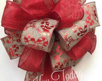 Christmas Bow, Cancy Cane Bow, Burlap Bow, Red Bow, Glitter Bow, Wreath Bow, Garland Bow, Door Bow, Large Bow, Tree Bow, Topper Bow