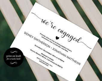 Engagement Party Invitation - We're Engaged - Wedding Printable - Engagement Announcement - Engagement Invite- Downloadable Wedding #WDH0228