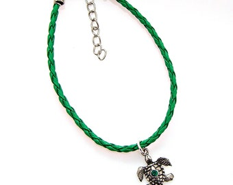 Bracelet Anklet Adjustable Sea Turtle Emerald Green Crystal Pewter Faux Braided Leather Beach Animal