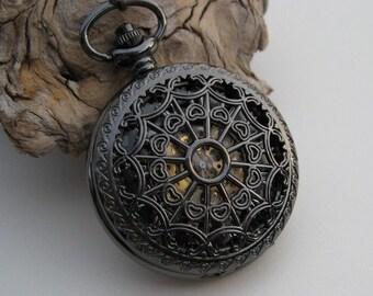 Pocket Watch 1882's Archaize Black Mechanical Engraved Men's Watch, Groomsmen Gift, Steampunk Skeleton Watch - Item MPW150