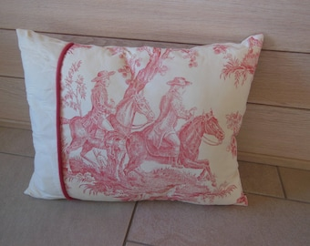 French toile de Jouy ecru and pink cushion