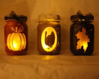 Fall/ Thanksgiving Lanterns, pumpkin,turkey,maple leaf silhouette 16oz, pint size mason jars, tea light included