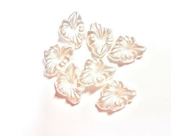 2 WHITE PEARLS 18/24 MM GLASS FLOWER BEADS