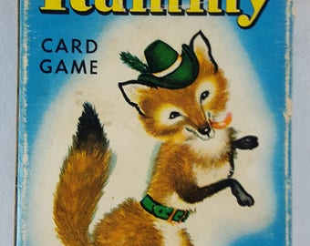 Whitman Animal Rummy Kids Card Game Complete Mini Deck of Cards