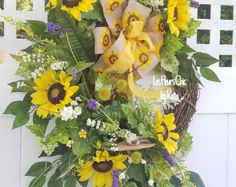 Sunflower Wreath, Outdoor Wreaths for Front Door, Spring Summer Wreaths For Front Door, Year Round Wreath, Door Wreaths, Wreaths With Birds