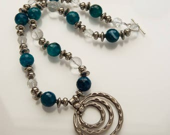 Agate and Clear Quartz Necklace with a large Hilltribe Silver Pendant.
