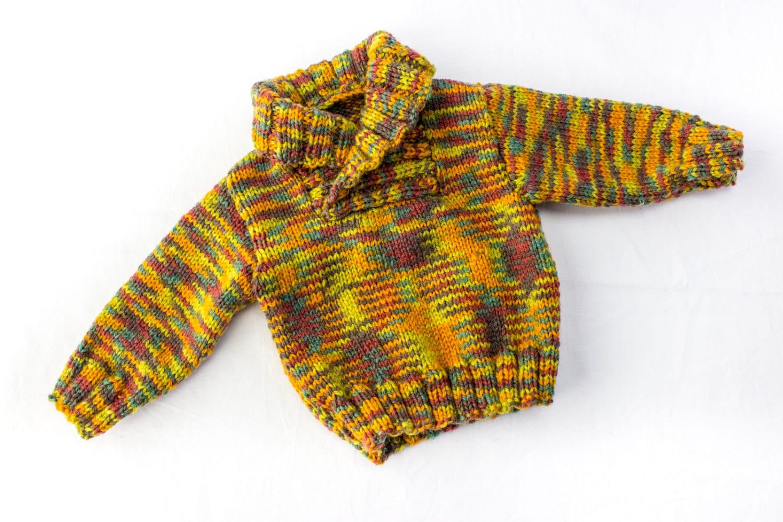 KNITTING PATTERN, Shawl Collar Sweater, 6 Sizes, Baby, Toddler, Kids ...
