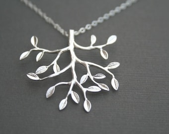 Reserved Bridal Listing for Becky-- Silver Tree Necklace.