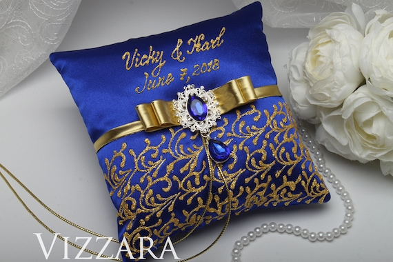 Ring bearer pillows Royal blue wedding Ring bearer pillow