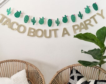 Taco Bout A Party Gold Glitter Banner - Taco Banner - Taco Party - Taco Theme- Fiesta - Cinco de Mayo