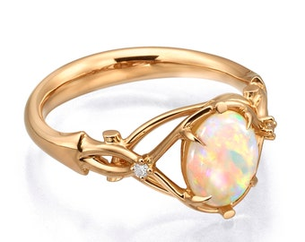 Opal Engagement Ring, Opal ring, Australian opal ring, Celtic Opal engagement ring, Opal Ring, Rose gold opal ring, 9