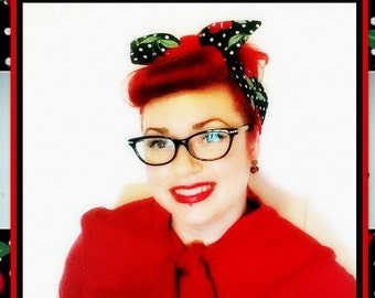 Betty Bandana in Retro Cherry Print in Black, Red and White.....New Size & Style