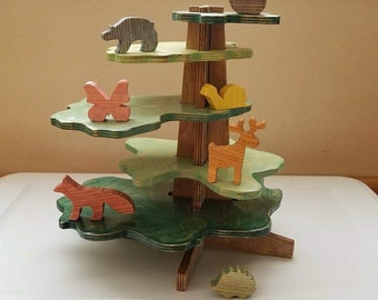 Building Tree, Wooden Forest Animals