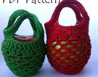 UK Terms Mini Crochet Gift Bag Apple Cozy PDF Pattern