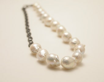 Baroque pearls and sterling silver chain necklace