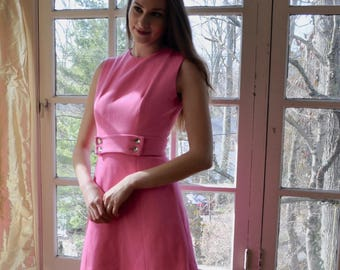 Bright Pink Mod Mini Dress/Vintage 1960s/Wool Mini Dress With Flared Skirt/Rhinestone Belt/Size Extra Small