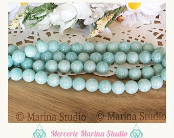 10 pearls 8mm or 6mm natural amazonite * reiki * chakras