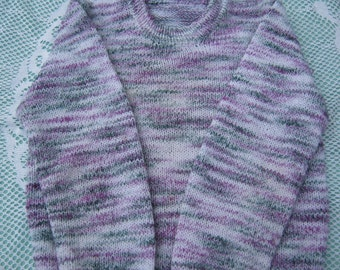 Gorgeous Hand Knitted Variegated Jumper/ Sweater for girl aged 6 to 8 years.