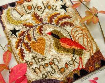 Love you to the moon Fraktur Bird Prim Folk Heart Punch Needle Embroidery DIGITAL Jpeg and PDF PATTERN Michelle Palmer Painting w/Threads