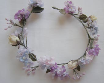 Wreath with Hydrangea and roses in vintage style for dolls Silk flowers