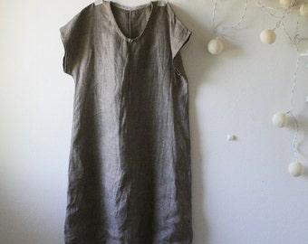 READY TO SHIP xs/s linen dress / tunic / brown dress / smock / short sleeve / eco / made in australia / handmade dress / pamelatang