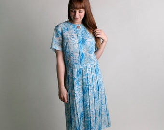 Vintage 1960s Dress - Sky Blue Floral Garden Button Dress - XL