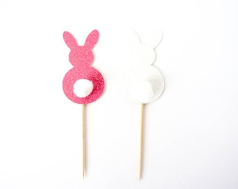 Easter Bunny Cupcake Toppers - Set of 12