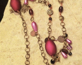 Asymmetrical Purple and Brass with Tags necklace