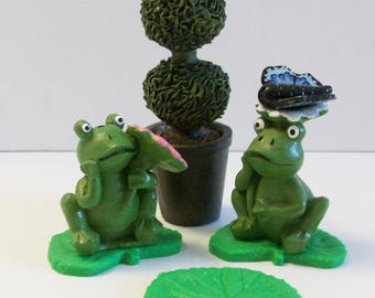 Miniature pair of frogs with topiary tree, stepping stones and butterfly: terrarium, fairy or gnome gardens