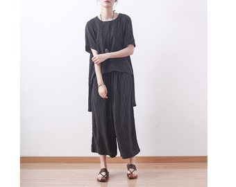 Womens Summer Loose Fitting Stripes Irregular Casual Blouses And Loose Pants With Pockets, Womans Casual Blouses,Summer Blouses,Casual Pants