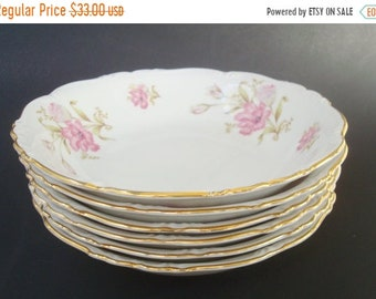 "ON SALE NOW Six Soup Bowls ""Shelby"" Pattern by Edelstein Bavaria. Pink Floral."