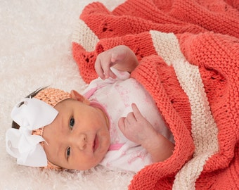 Knit Baby Blanket, Stroller Blanket, Toddler Blanket, Lace, Modern, Tangerine with Cream Stripes, Cotton, Baby Girl - 090