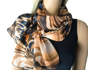 Fire and Earth  Long chiffon scarf- Gorgeous colors and print- Parisian Neck Tissu