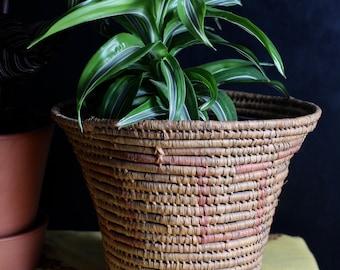 Large Coil Basket Planter - antique