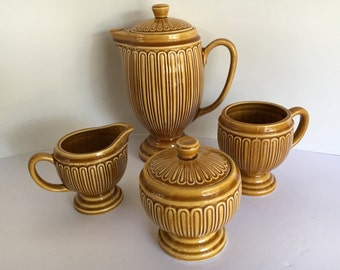 Vintage Ceramic Set of Teapot/Pitcher, Sugar Bowl and Creamer, Cup Gold Imported by Joseph Magnin 1960 Japan
