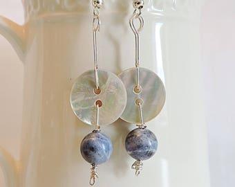 Button earrings, sodalite gemstone earrings, silver earrings, dangle earrings, boho jewellery, gifts for her