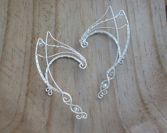 Elven Ear Cuffs. Silver Elven Ear Cuffs. Fairy Ear Cuffs. Elf Ear Cuffs. Elven Ear Wraps. Ear Cuffs. Fairy Ear Wraps.  Halloween Costume.