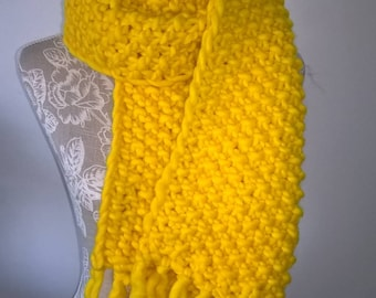 Handknitted Yellow Scarf.