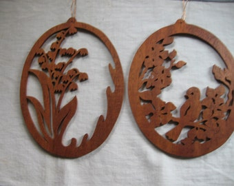 Wood Cut Outs of  Lily of the Valley and Bird on a Branch
