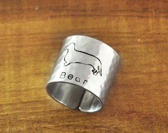 FREE Shipping- Engraved Dachshund Ring, Hammered Wide Ring, Hand Stamped Personalized dog ring, Custom Name Ring, Gift for Dog Lover