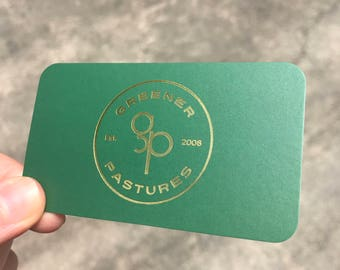 Business Cards with Gold Foil and Silk Laminate, Greener Pastures, Cannabiz, Cannabis, Green and Gold, Mini Farm, Business Cards