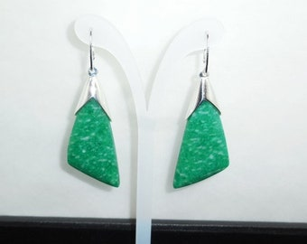 Natural Amazonite 925 Silver Earrings