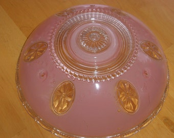 Art Deco Pink Glass Ceiling Light Shade ~ BEAUTIFUL