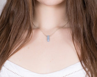 Tiny Angelite Slab Necklace - Air Element - Polished Boho Pendant