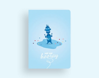 Birthday Card • Robots & Dots Collection by Celebratink • Robot • Blue • Dots • Greeting Card
