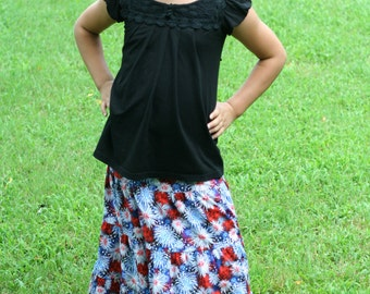 Girls Handmade Modest Patriotic Red, White and Blue Fireworks 4th of July Americana Tiered Peasant Skirt Size 6/8