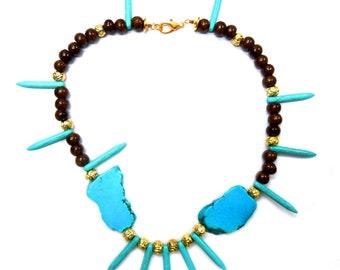 Elegant ceramic bead necklace - dark blue/turquoise