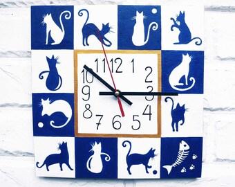 Blue and White Cats, Hand Painted Wall Clock, wall clocks handmade