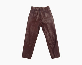 """Vintage 90's Oxblood High Rise Seamed Leather Pants 27"""""""